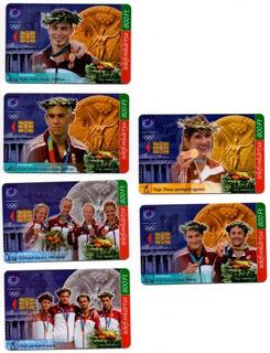 6 Tarjetas Telefónicas Húngaras Athenas 2004