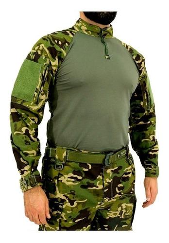 Camiseta Combat Shirt Tática Camuflada Multicam Tropical