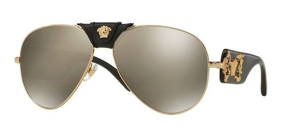 Lentes De Sol Versace Ve2150q 1002/5a Dorado-negro Hombre