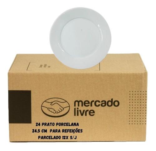 Imagem 1 de 2 de Prato Para Restaurantes 24 Pçs Porcelana Branca Ref 62000