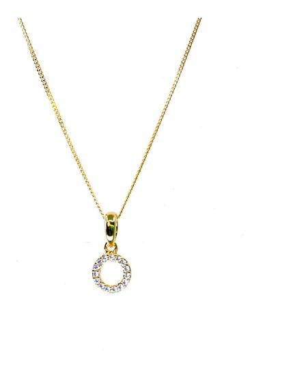 Collar Dije Aro Con Cristales Chapa De Oro Regalo 22k Vogary
