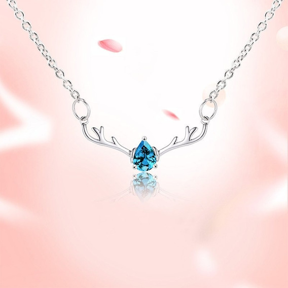 Hermoso Collar Dije Venado Cristal Azul, Ideal Para Regalo