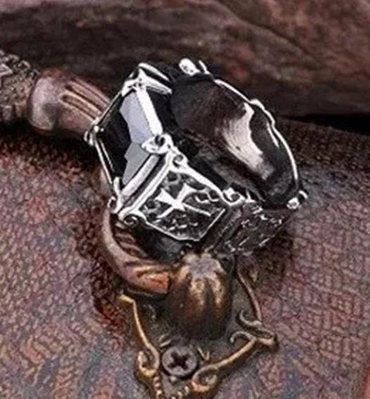 Anel Masculino Cruz Religioso Titânio Pedra Ágata Templário