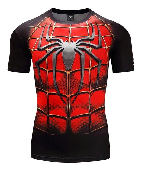 Remera Compresion Superheroes Spiderman, Superman, Ironman