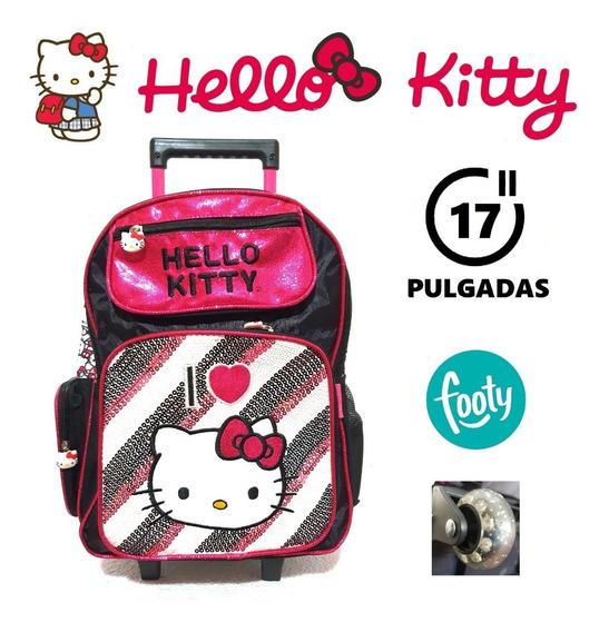 Mochila Hello Kitty Con Carrito 17 Pulgadas Original Footy !
