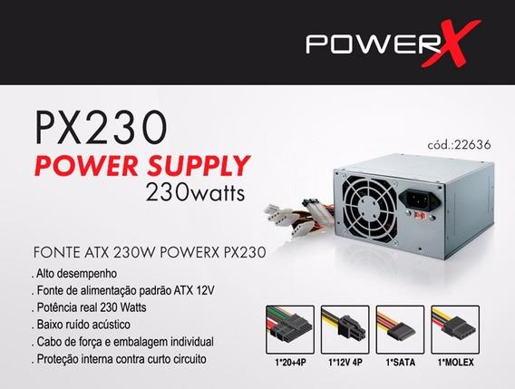 Fonte Atx 230w Real Com Cabo Px230 Powerx - Grátis 2 Cabo!!!