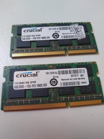 Memoria Ram Crucial 8gb 2x4gb Ddr3 1333mhz