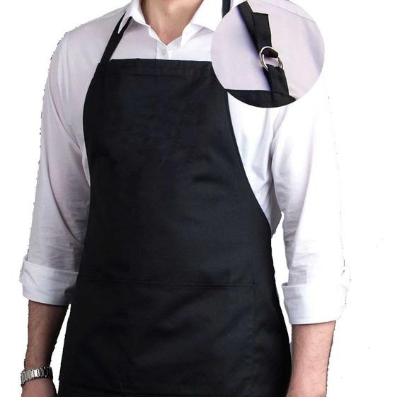 Avental Oxford Regulável Altura Com Bolso Preto Branco Vermelho Marrom Liso Uniforme Chef Cozinha Restaurante Evento