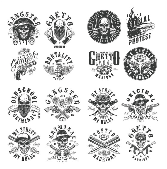Pack Vectores Skull, Mafia, Ridres, Rock & Roll - Remeras