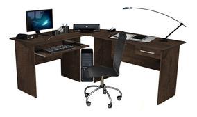Mesa Para Computador Escrivaninha Completa Tabaco