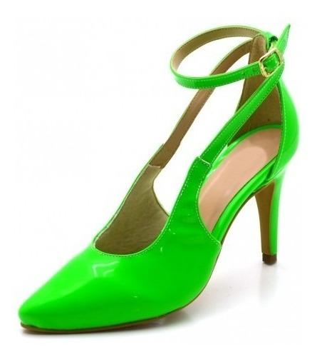 Sapato Social Feminino Scarpin Aberto Salto Fino Neon Verniz