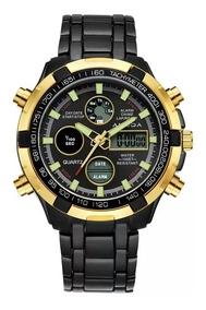 Relógio Amuda Golden Hour Banhado A Ouro Dourado Metal Inox