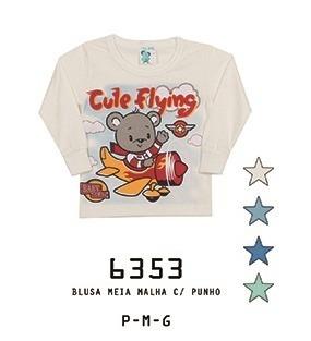 Camiseta Alemara Bebê Manga Longa Ursinho Piloto Cód: 930