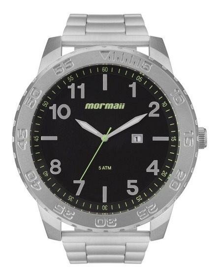Relógio Mormaii Prata Barato Mo2115bd/1p Analógico Grande