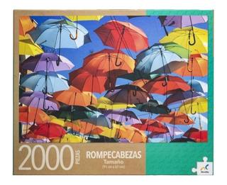 Rompecabezas 2000 Pz Paraguas Sombrillas De Colores En Cielo
