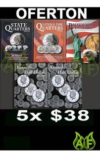 5 Album Coleccionador Para Monedas 25 Y 50 Centavos Y 1 Dola
