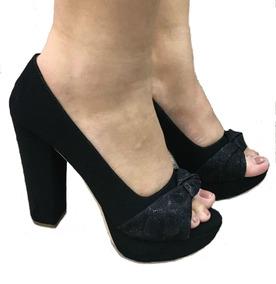 0a12f6ca4 Sapato Feminino Peep Toe Preto Brilho Aberto Meia Pata Salto