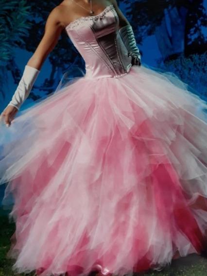 Vestido De 15 Rosa Desmontable.tul.bordado A Mano. Impecable