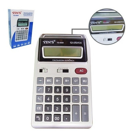 Calculadora Eletrônica De Mesa 12 Dígitos Digital Yins