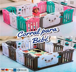 Corral Para Bebé + 10 Paneles Y 2 Puertas + Alfombra Gratis