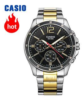Reloj Casio Mtp-1374 Dorado Y De Acero Inoxidable Wr 50m