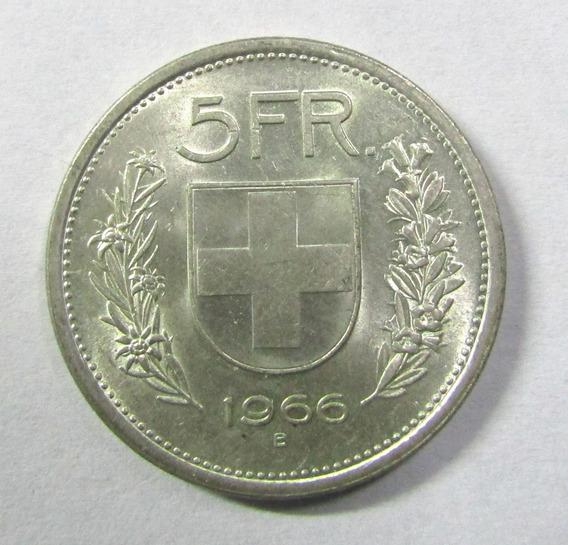 Suiza 5 Francos De Plata Año 1966 William Tell Au Km # 40