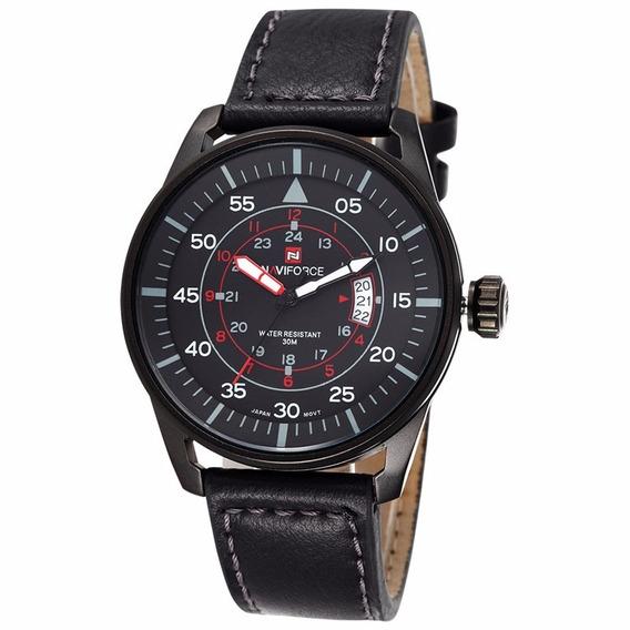Relógio Militar Esportivo Nf9044m Naviforce Pulseira Couro