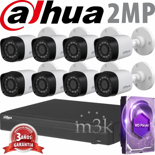 Kit Seguridad Dahua Full Hd Dvr 8 + Disco 1 Tb Instalado + 8 Camaras 2mp 1080p Exterior Infrarrojas + Ip M3k