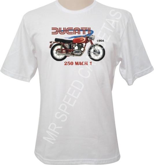 Camiseta Motocicleta Ducati 250 Mach 1 1964 Vermelha