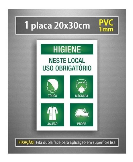Placa Higiene Use Epis Touca Máscara Jaleco Propé - Cozinha