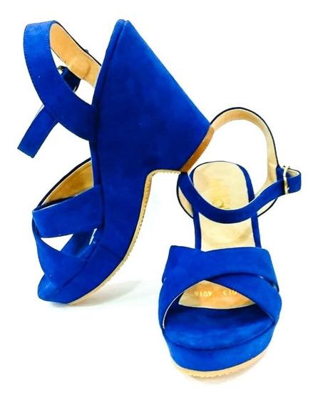 Zapatos Sandalias Tacón Corrido Azul Rey Moda Dama Cómodos