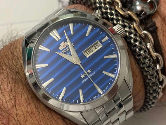 Orient 469ss041 Automatic 3 Star Blue Wr50m