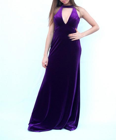 Vestido Largo Al Cuerpo Purpura Escote Y Cuello Moda Pasion
