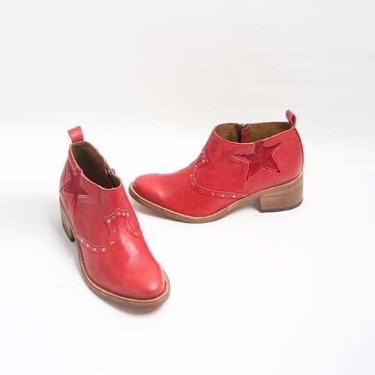 Botas De Cuero Mujer Donné Star Rojo Art 1891