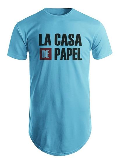 Camiseta Masculina Longline Blusa Estampada La Casa De Papel