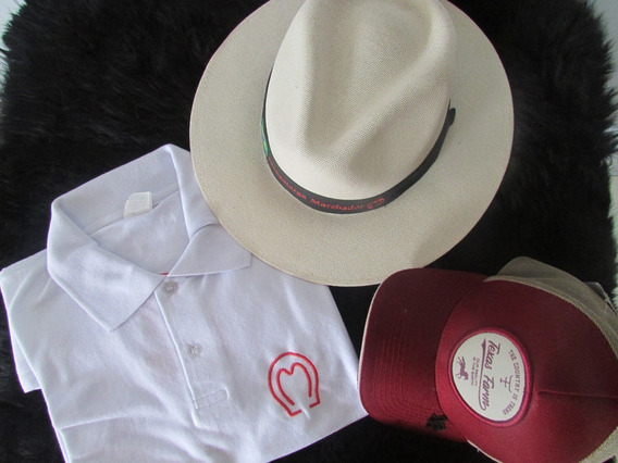 Chapeu Country Camisa Polo Branca E Bone Promoção Ate Sexta