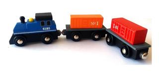 Tren Trencito De Madera Vagones Niños Didactico Encastre