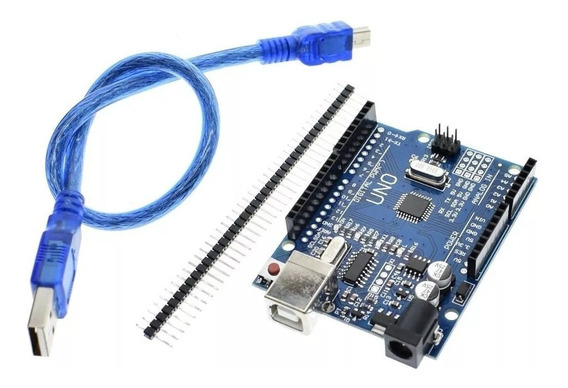 Arduino Uno R3 Atmega328p + Cabo Usb + Pinos