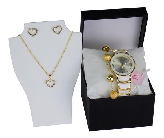 Relógio Pulso Feminino Dourado E Branco Pronta Entrega