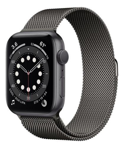 Imagem 1 de 4 de Apple Watch  Series 6 (GPS) - Caixa de alumínio cinza-espacial de 44 mm - Pulseira estilo milanês grafite