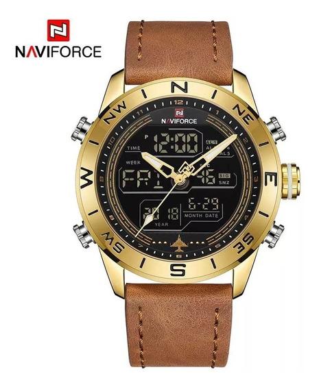 Relógio Masculino Militar Naviforce Aviador A Prova Dágua