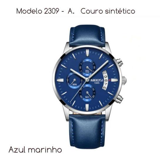 Relógio Nibosi Masculino Couro Funcional 2309