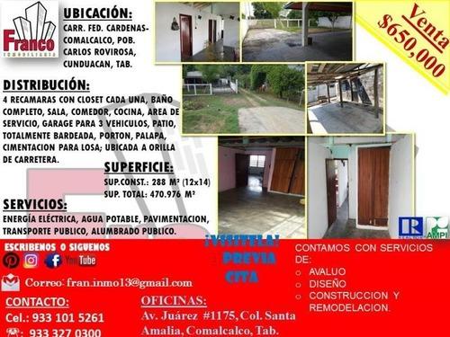 Casa Sola En Venta Carr. Fed. Cardenas-comalcalco, Pob. Carlos Rovirosa