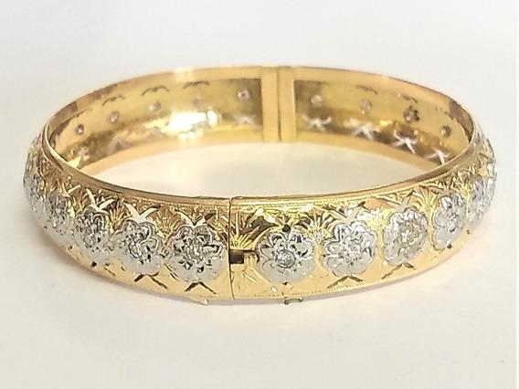 Bracelete C/ 25 Brilhantes (2 K) Ouro Amarelo 18 K 750 35 Gr