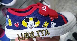 Zapatillas Disney Mickey De Lona Talla 28 Y 29