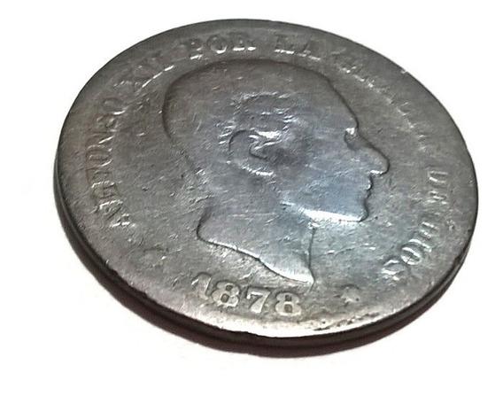 Moneda Antigua De Cobre 1878 Alfonso Vii 5 Centimos