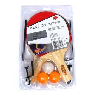 Kit Tenis De Mesa 2 Raquetes + 3 Bolinhas + Rede - Ping Pong