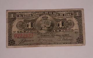 Billete De Cuba: 1 Peso Del Banco Español En La Isla De Cuba