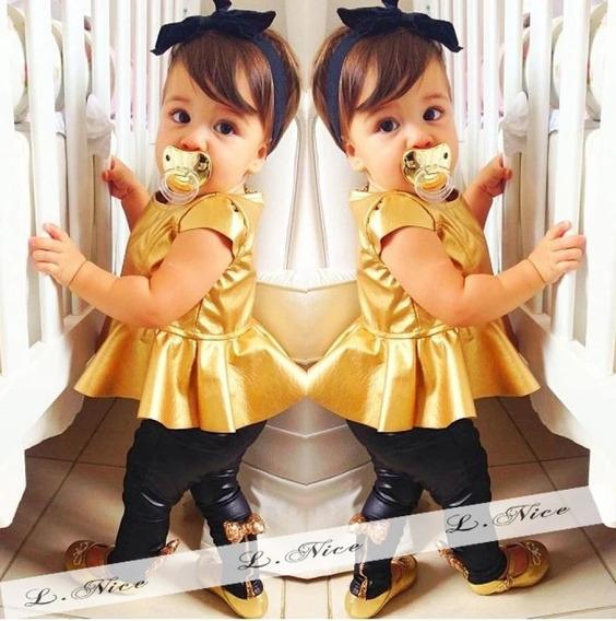 Conjunto De Bebê Menina Modinha Dourado Importado