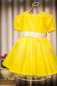 Vestido Infantil Amarelo Magali Luxo